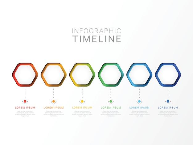 Modèle infographique 3d de six étapes avec des éléments hexagonaux. modèle de processus métier avec options pour brochure, diagramme, flux de travail, calendrier, web