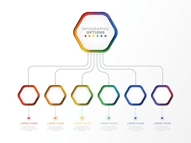 Modèle infographique 3d de six étapes avec des éléments hexagonaux.