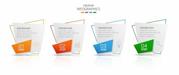 Modèle infographique avec 4 options ou étapes