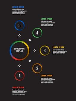 Modèle infographique 5 étapes verticales avec du papier rond, éléments coupés sur fond noir