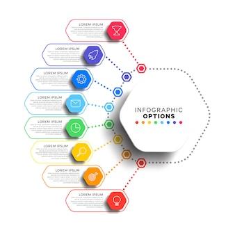 Modèle infographique en 8 étapes avec des éléments hexagonaux réalistes sur blanc