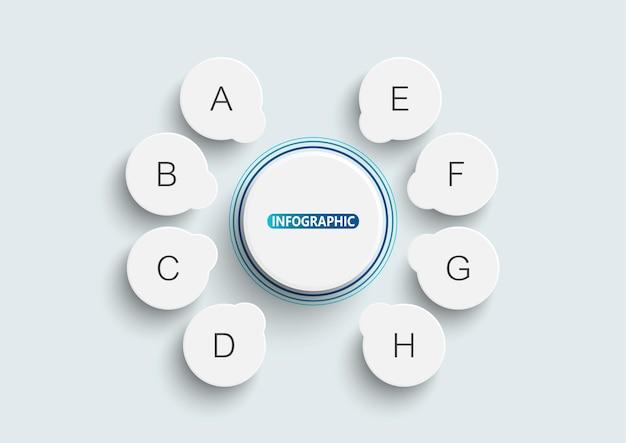 Modèle infographique avec 8 options. diagramme, organigramme, étapes, pièces, infographie de chronologie, flux de travail, graphique.