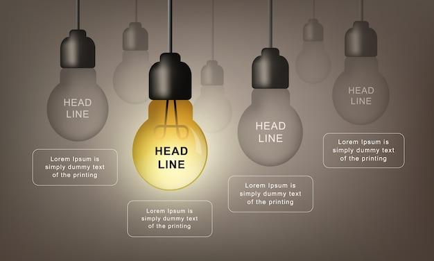 Modèle infographique avec ampoule vecteur réaliste. concept d'idée