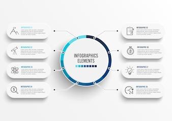 Modèle infographique avec étiquette papier 3D