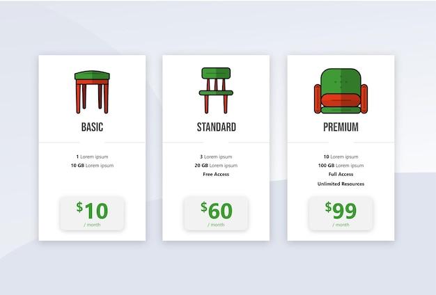 Modèle infographique de bannières de plan de tarification