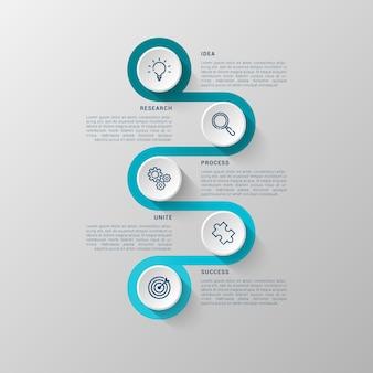 Modèle infographique avec cercle 3d