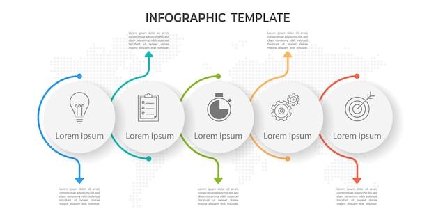 Modèle infographique de cercle de chronologie minimale 5 options ou étapes.
