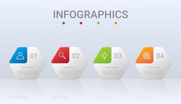 Modèle infographique de chronologie colorée avec 4 étapes sur fond gris, illustration