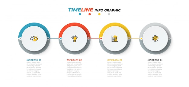 Modèle infographique de chronologie. concept d'entreprise avec des icônes de marketing et 4 étapes, option. illustration vectorielle.