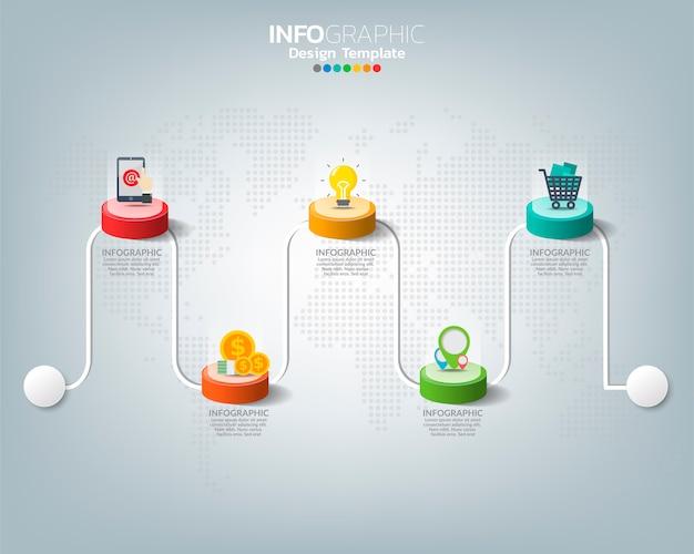 Modèle infographique de chronologie avec concept d'icônes de marketing numérique.