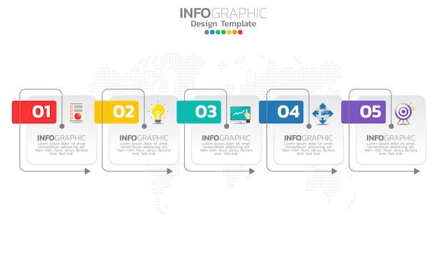 Modèle infographique de chronologie avec flèches et design plat 5 options