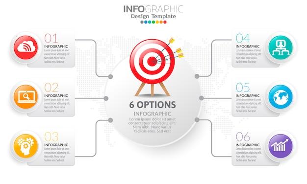 Modèle infographique de chronologie avec des flèches et des options design plat
