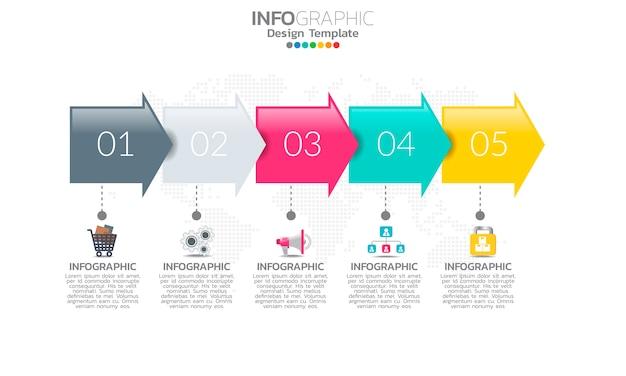 Modèle infographique de chronologie avec flèches et options