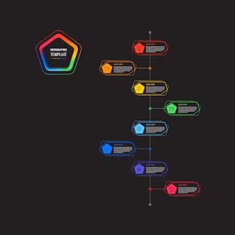 Modèle infographique de chronologie en huit étapes verticales avec des pentagones et des éléments polygonaux sur fond noir. visualisation des processus d'affaires modernes avec des icônes de marketing en ligne mince.