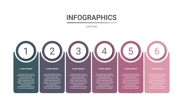 Modèle infographique de chronologie avec six options
