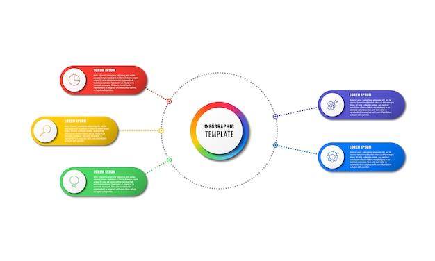 Modèle infographique avec cinq éléments ronds