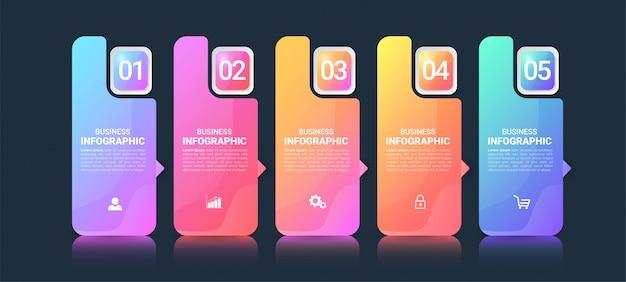 Modèle infographique coloré en 5 étapes.