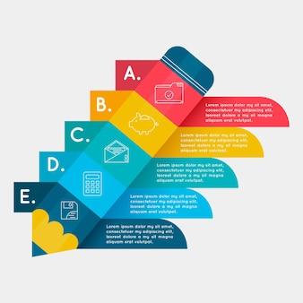 Modèle infographique coloré avec étapes