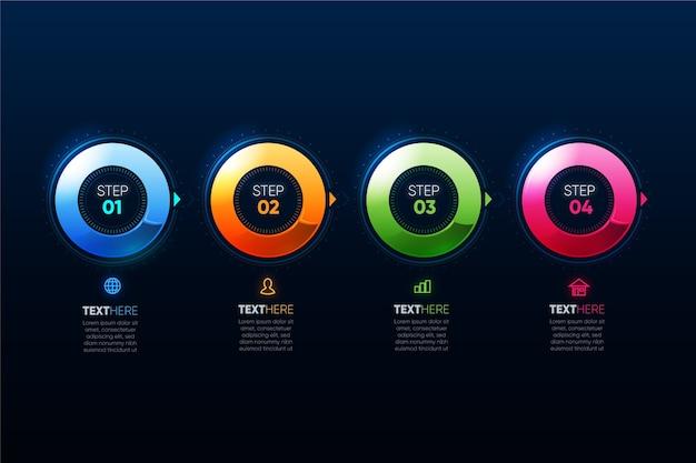 Modèle infographique coloré réaliste avec étapes