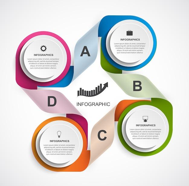 Modèle infographique coloré
