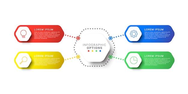 Modèle infographique de conception mise en page simple quatre étapes avec éléments hexagonaux