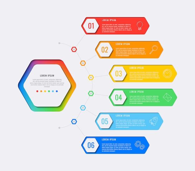 Modèle infographique de conception mise en page simple six étapes avec éléments hexagonaux