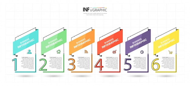 Modèle infographique créatif en 6 étapes