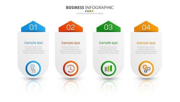 Modèle infographique créatif avec icônes et 4 options
