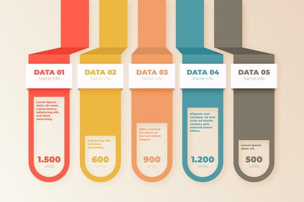 Modèle infographique design plat avec des couleurs rétro
