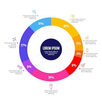 Modèle infographique de diagramme circulaire plat