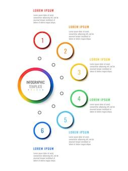 Modèle infographique de disposition six étapes conception avec rond 3d éléments réalistes.