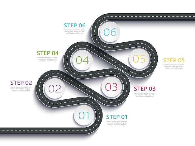 Modèle infographique d'emplacement de chemin routier sinueux avec une structure en plusieurs phases
