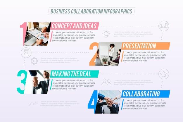 Modèle infographique d'entreprise avec photo