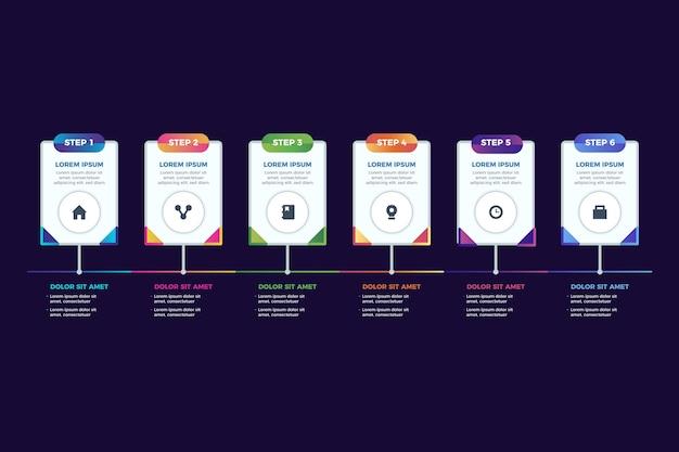 Modèle infographique d'étapes de dégradé