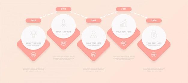 Modèle infographique avec des étapes pour réussir. présentation avec des icônes d'éléments de ligne.