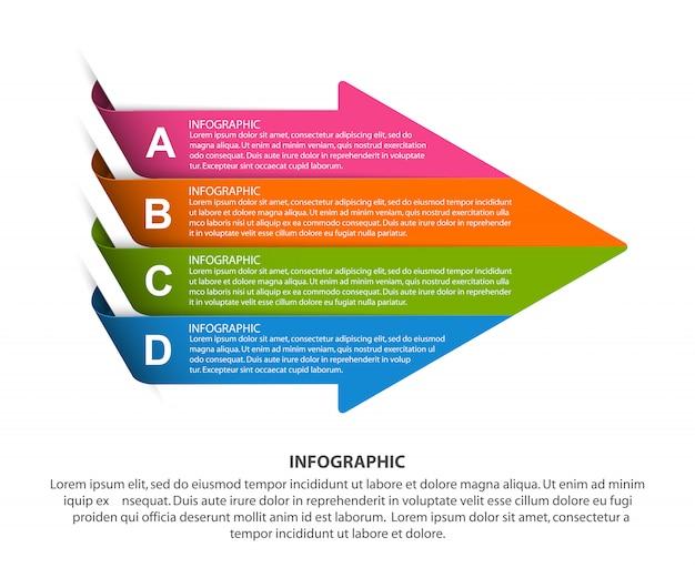 Modèle infographique en forme de flèche.
