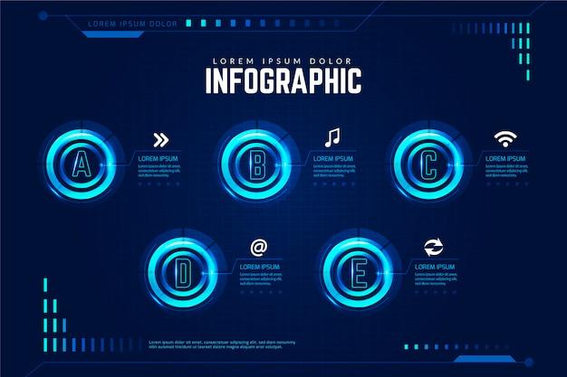 Modèle infographique futuriste
