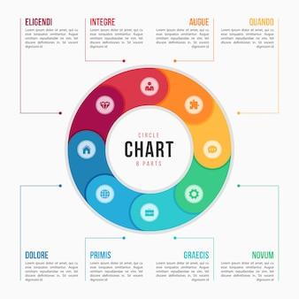 Modèle infographique de graphique circulaire avec pièces, processus, étapes