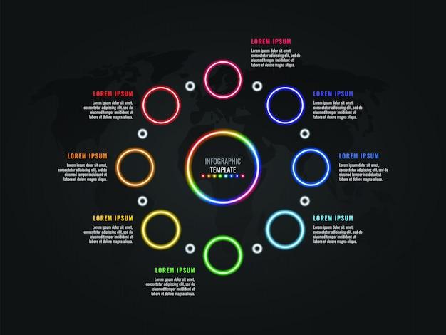 Modèle infographique huit étapes avec des éléments néon luminescent et des zones de texte sur fond sombre