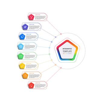 Modèle infographique de huit étapes avec pentagones et éléments polygonaux sur fond blanc. visualisation de processus d'affaires moderne avec des icônes de marketing en ligne mince. illustration