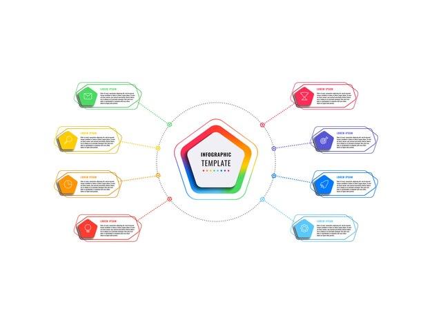 Modèle infographique de huit étapes avec pentagones et éléments polygonaux sur fond blanc. visualisation de processus d'affaires moderne avec des icônes de marketing en ligne mince.