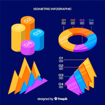 Modèle infographique isométrique