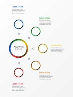 Modèle infographique de mise en page de conception en cinq étapes avec des éléments réalistes 3d ronds.