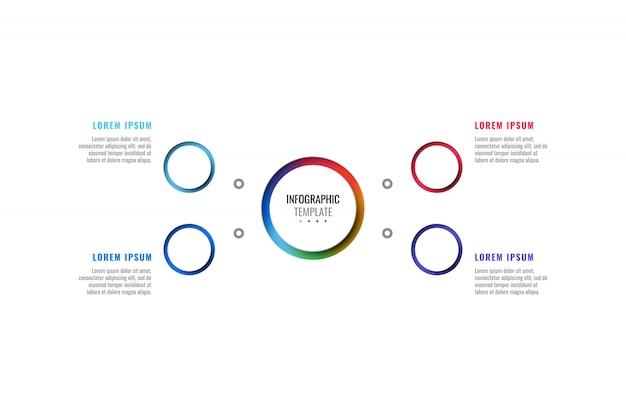 Modèle infographique de mise en page de conception en quatre étapes avec des éléments de coupe peper réalistes 3d ronds
