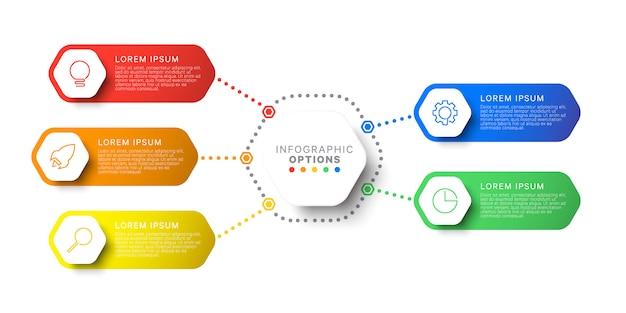 Modèle infographique de mise en page de conception simple en cinq étapes avec des éléments hexagonaux.