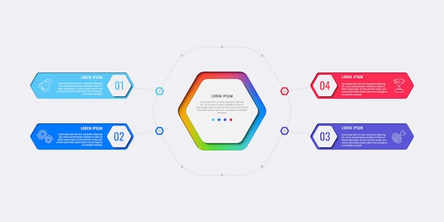 Modèle infographique de mise en page de conception simple quatre étapes avec éléments hexagonaux.
