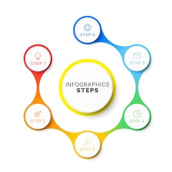 Modèle infographique de mise en page de conception simple six étapes.