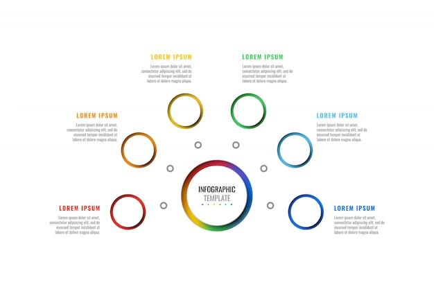 Modèle infographique de mise en page de conception en six étapes avec des éléments réalistes 3d ronds.