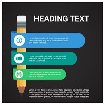 Modèle infographique moderne avec un crayon et 3 rubans de papier coloré