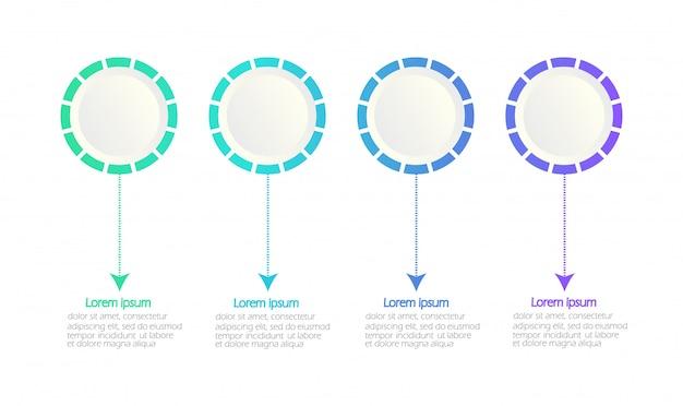 Modèle infographique moderne. infographie de la chronologie. cercles. espace blanc pour le contenu. 4 options.